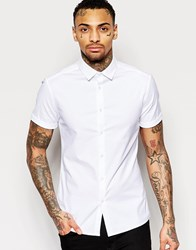 Asos Oxford Skinny Shirt In White With Short Sleeves White