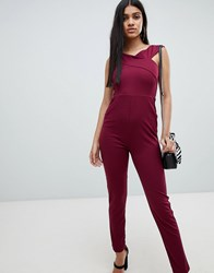 Ax Paris Cross Front Fitted Jumpsuit Purple