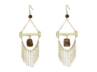 French Connection French Wire Trapeze Link With Chain Fringe And Tigerseye Chandelier Earrings Gold Tigerseye Earring