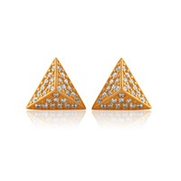 Labante Sterling Silver Pyramid Stud Earrings Gold