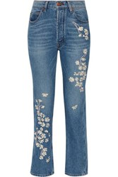 Bliss And Mischief Chamomile Embroidered High Rise Straight Leg Jeans Mid Denim