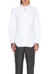 Thom Browne Whale And Turtle Embroidered Placket Shirt In White