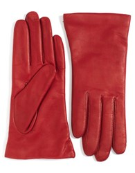 Lord And Taylor Cashmere Lined Leather Gloves Cherry