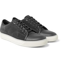Lanvin Cap Toe Leather And Suede Sneakers Dark Gray