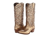 Frye Deborah Studded Tall Gold Glazed Vintage Leather Cowboy Boots Animal Print