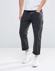 Asos Straight Jeans In Cropped Lenth With Carpenter Pockets Washed Black
