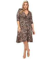 Kiyonna Flirty Flounce Wrap Dress Leopard Women's Dress Animal Print