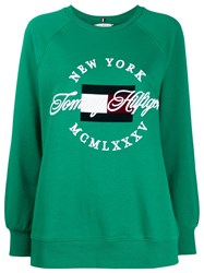 Tommy Hilfiger Embroidered Logo Sweater Green