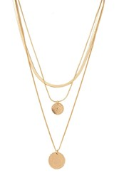 Forever 21 Layered Disc Charm Necklace Gold