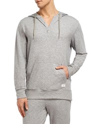 2Xist Hooded Henley Sweatshirt Gray Pattern