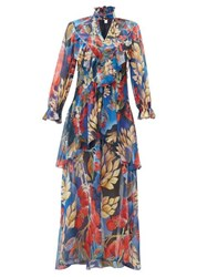 Peter Pilotto Ruffle Trim Floral Print Silk Georgette Gown Blue Multi