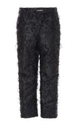 Zac Posen Angel Hair Lurex Cropped Trousers Blue