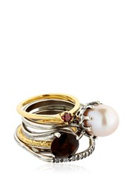 Iosselliani Puro Crystal Pearl And Garnet Rings