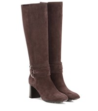 Tod's Suede Knee High Boots Brown