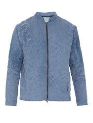 By Walid Reworked Vintage Crochet Applique Cotton Jacket Blue