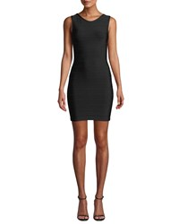 Herve Leger U Neck Sleeveless Open Back Mini Dress Black