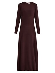 Raey Long Sleeved Silk Gown Burgundy