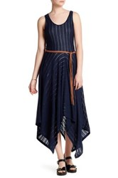 Cullen Sheer Stripe Handkerchief Hem Dress Blue