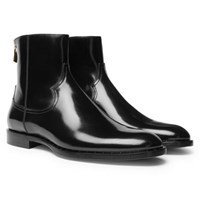 Dolce And Gabbana Polished Leather Chelsea Boots Black
