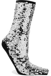 Off White Sequined Knitted Socks Silver