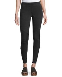 Three Dots Mid Rise Moto Leggings Black