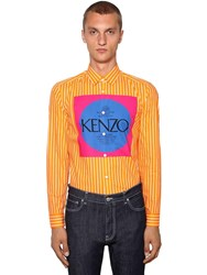 Kenzo Striped Invite Print Cotton Shirt Orange