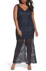 Marina Plus Size Women's Illusion Lace Gown Navy