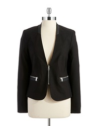 Dex Leather Trimmed Blazer Black