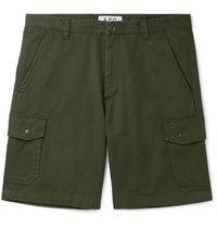 A.P.C. Slim Fit Cotton Twill Cargo Shorts Green