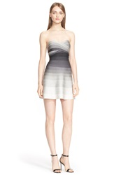 Herve Leger 'Shea' Strapless Ombre Fit And Flare Dress Dove Combo