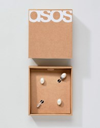 Asos Wedding Gift Set With Faux Pearl Lapel Pin And Cufflinks Silver