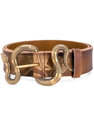 Gucci Snake Buckle Belt Leather Brown