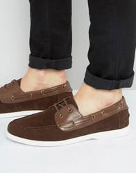 Asos Boat Shoes In Brown Faux Suede Brown