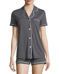 Cosabella Petite Bella Short Sleeve Boxer Pajama Set Women's Black Ivory