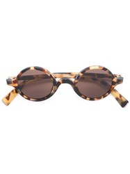 Dolce And Gabbana Circle Frame Sunglasses Brown
