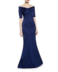 70a7ee2f78 Rickie Freeman For Teri Jon Off The Shoulder Elbow Sleeve Stretch Satin  Mermaid Gown W Twist