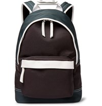 Ami Alexandre Mattiussi Leather Trimmed Canvas Backpack Green