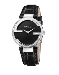 Gucci Ladies G Diamond Watch With Black Leather Strap