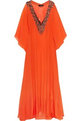 Amanda Wakeley Embellished Silk Kaftan Orange