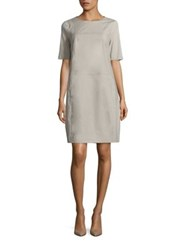 Peserico Cotton Contrast Stitch Dress Taupe