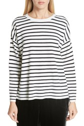 Eileen Fisher Stripe Merino Wool Sweater Swhbl