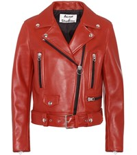 Acne Studios Mock Leather Biker Jacket Red