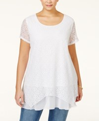 Styleandco. Style And Co. Plus Size Lace Handkerchief Hem Tunic Only At Macy's Bright White
