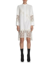 Burberry Herringbone Cotton Shirtdress With Lace Inserts White