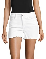 Buffalo David Bitton Frayed Mid Rise Cotton Blend Shorts White