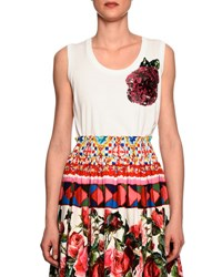 Dolce And Gabbana Sleeveless Scoop Neck Tee W Sequin Rose White