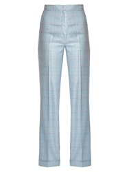 Gabriela Hearst Shipton Silk And Wool Blend Checked Trousers Light Blue