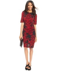Connected Scroll Print Side Pleat Sheath Red