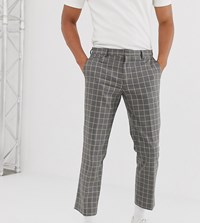 Noak Slim Fit Cropped Trouser In Grey Grid Check