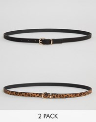 Asos 2 Pack Leopard And Plain Waist And Hip Belts Multi